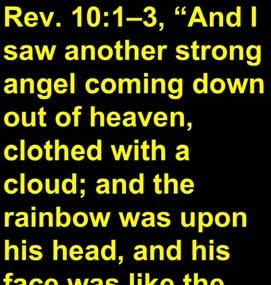 with a cloud; and the rainbow was upon his head, and his face was like the