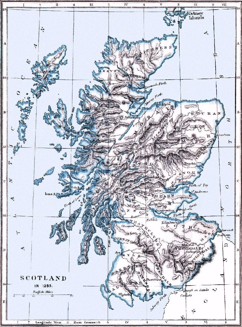 Map of Scotland about the year 1285 Lorn, Kintyre and Argyle, where the Irish DalRiata settled, are on the long peninsula hanging down from the western coast in the area D-III on the map.