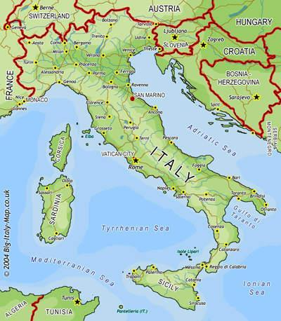 The Italian Peninsula Narrow boot-shaped peninsula in the Mediterranean Sea Modern-Day Italy Center of trade among 3 continents = Asia, Africa, Europe Mild, moist climate & rich soil