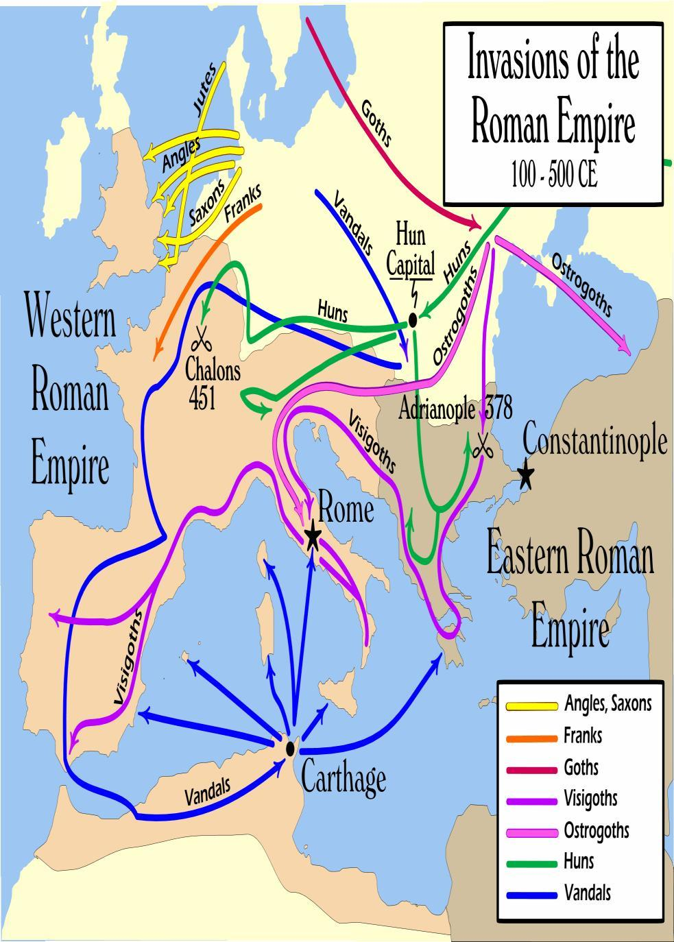 Barbarian Invasions Germanic tribes entered the Empire for many reasons: Looked for warmer climate Wanted
