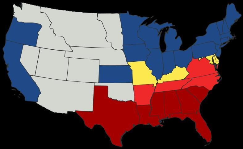 Seven states in the deep South had left by February 1, 1861.