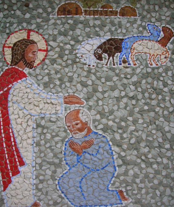 Tenth Station: Jesus commissions Peter to take care of his flock, the Church. Jesus then asked Peter three times: Simon, son of John, do you love me more than these others do?