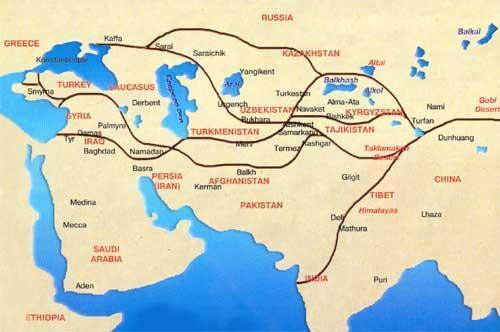 The Silk Road -from China to Mediterranean to Rome -over 4000