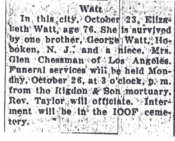 [Oregon Statesman, October 25, 1925 5:5] 3. Charles Leonidas Watt b. 18 Jan 1852 Salem, Marion Co, OR 07 Oct 1917 Marion Co, OR m. 01 Jun 1898 Salem, Marion Co, OR Sarah Elizabeth Ella Milne b.