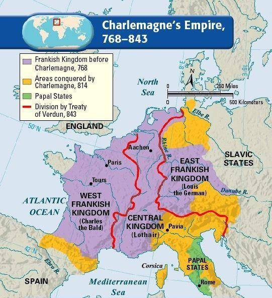 After Charlemagne dies There is a 3 year civil war ending with the Treaty of Verdun