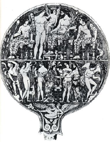 Etruscan mirrors were beautifully engraved, recalling details recorded in Greek mythology; however, the Etruscans had a unique view of certain stories, particularly those involving Helen of Troy,