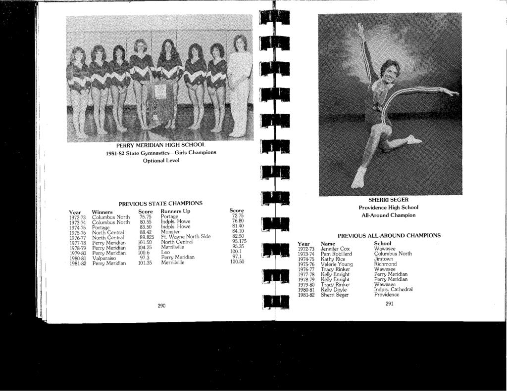 PERRY MERIDIAN HIGH SCHOOL 1981-82 Staie Gymnastics-Girls Champions Optional Level Year 1972-73 1973-74 1974-75 1975 76 1976-77 1977-78 1978-79 1979-80 1980-81 1981-82 PREVIOUS STATE CHAMPIONS