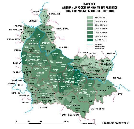 Share of Muslims in the sub-districts In Map XXI-II below, we have shown the share of Muslims in the sub-districts of the pocket of high Muslim presence in northwest UP that we have been discussing
