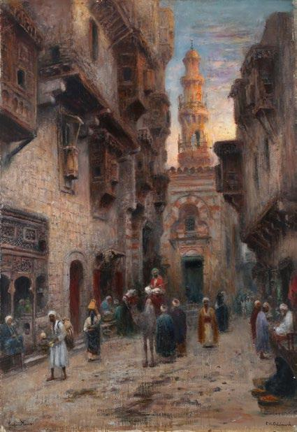 Charles Prélat (19th -20 century) Palmiers devant Marrakech تشارلز بريال )القرن - 19 20( مراكش مدينة النخيل signed, located and dated Ch.