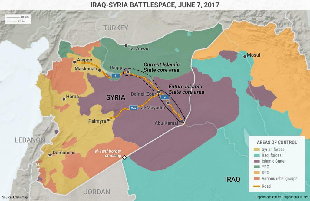 (click to enlarge) The Islamic State is in danger of losing control of this territory. GPF s report identified four main avenues of approach toward the Islamic State s core territory. U.S.-backed Syrian Kurds chose the fourth approach, moving south from Tal Abyad for a frontal assault on the IS capital.