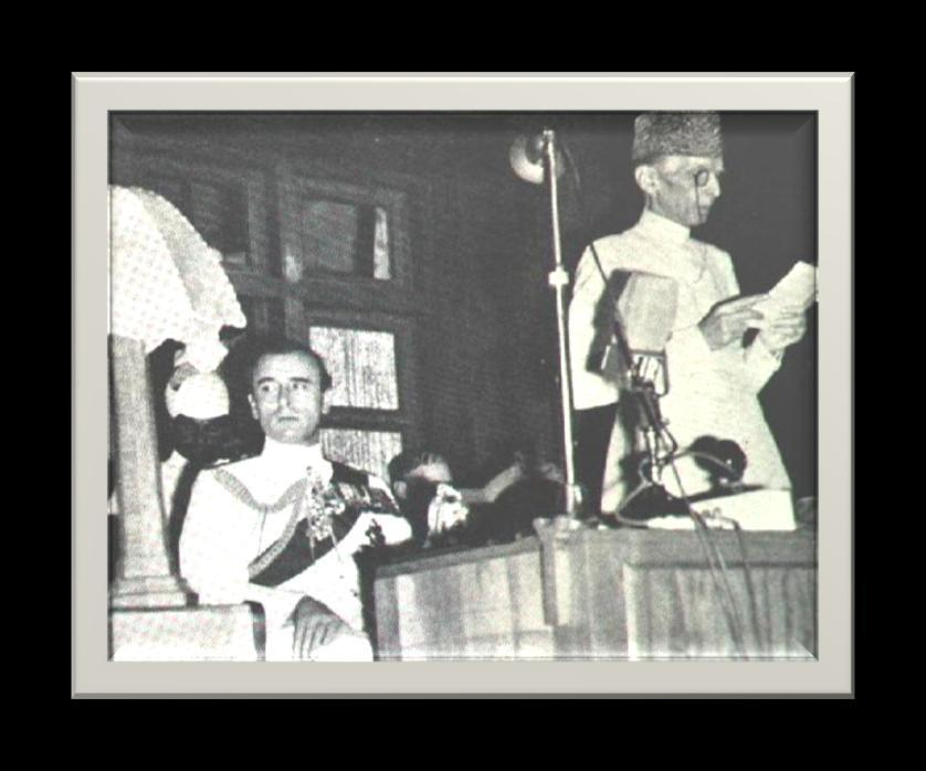 E x c e r p t f r o m E n d a n g e r e d S p e c i e s 28 August 14, 1947, Jinnah addressing the Pakistan Parliament. Sitting next to him is the last British Viceroy to India, Lord Louis Mountbatten.