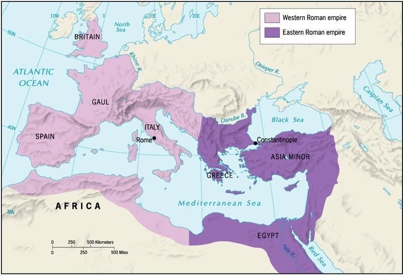 First Split in Christianity, 1054 CE Western Roman empire
