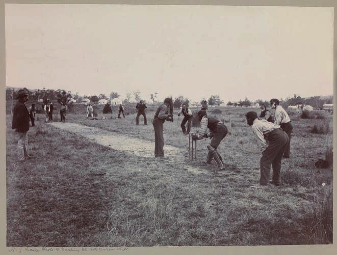 94 Researchers and Coranderrk Figure 3.3: Aboriginal men playing cricket, N.J. Caire, 1904, photographic print mounted on cardboard; 21.8 x 29.