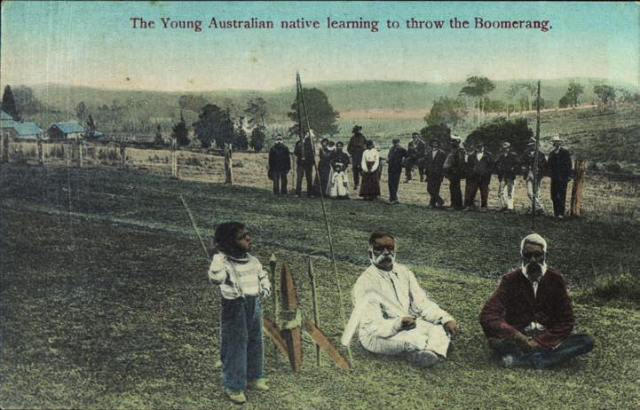 Nicholas Caire 191 Figure 7.4: The Young Australian native learning to throw the Boomerang. N.J.