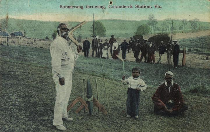 5: Boomerang throwing, Coranderrk Station, Vic. N.J. Caire photographer. V.S.M. Series. Printed in Germany.