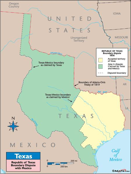 Mexico claimed the border with Texas was the Nueces