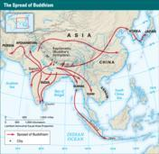 The Spread and Influence of Buddhism At first, Buddhist ideas spread slowly among religious seekers in India. In the 200s B.C.E., however, the Emperor Ashoka helped popularize Buddhism.