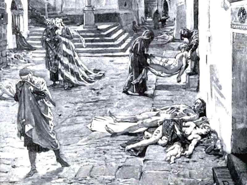 The plague killed 25 million people in 5