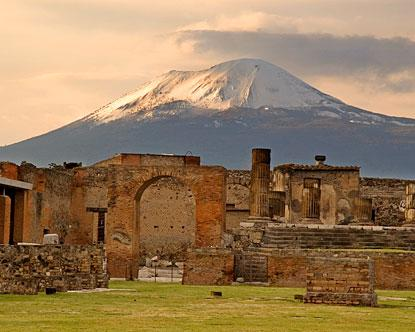 Pompeii and Herculaneum were destroyed by Mt. Vesuvius in 79 CE.