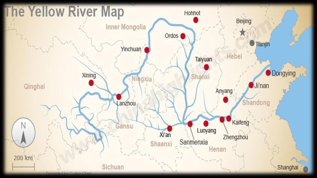 Geography Early cities develop along the Yellow River Mountain ranges act as