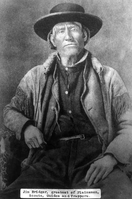 Jim Bridger first came west in 1822 as a teenage member of an exploration party. He was among the first non-natives to see the geysers and other natural wonders of the Yellowstone region.