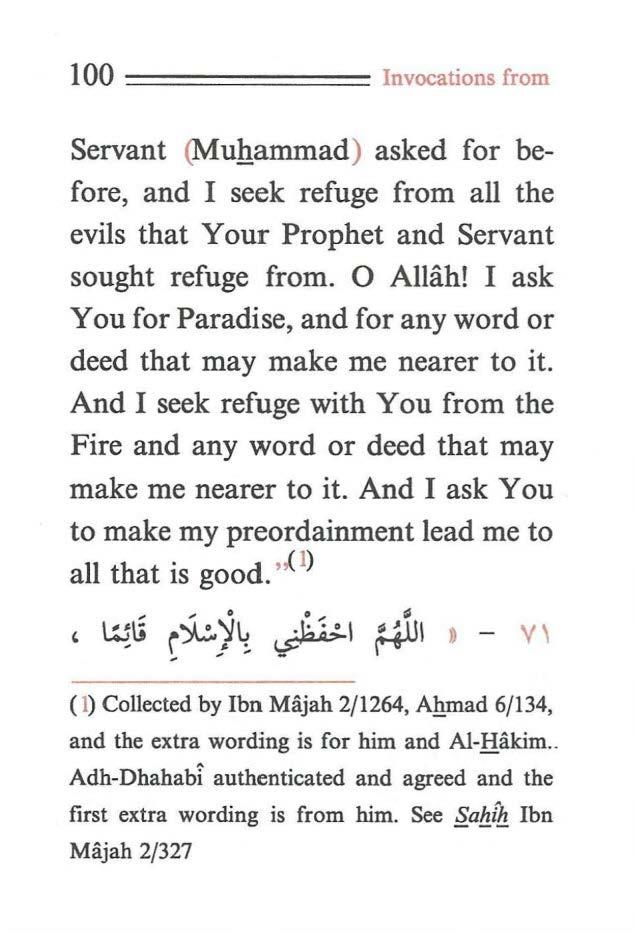 100 ==== ==== Invocations from Servant (Muhammad) asked for before, and I seek refuge from all the evils that Your Prophet and Servant sought refuge from. 0 Allah!