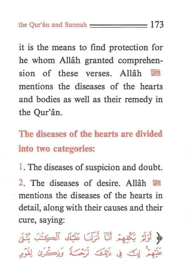 the Qur'iin and Sunnah ====== 173 it is the means to find protection for he whom Allah granted comprehension of these verses.