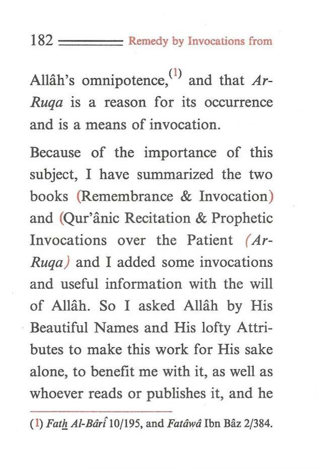 182 ==== Remedy by Invocations from Allah's omnipotence,< 1 > and that Ar Ruqa is a reason for its occurrence and is a means of invocation.