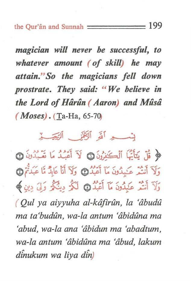 "the Qur'an and Sunnah ====== 199 magician will never be successful, to whatever amount ( of skill) he may attain."" So the magicians fell down prostrate."