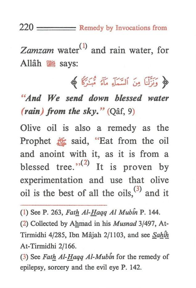 "220 ==== Remedy by Invocations from Zamzam wate/ 1 ) and rain water, for Allah ~ says: ~ ~ {t ;CJi ~ U.J J, ""And We send down blessed water (rain) from the sky."