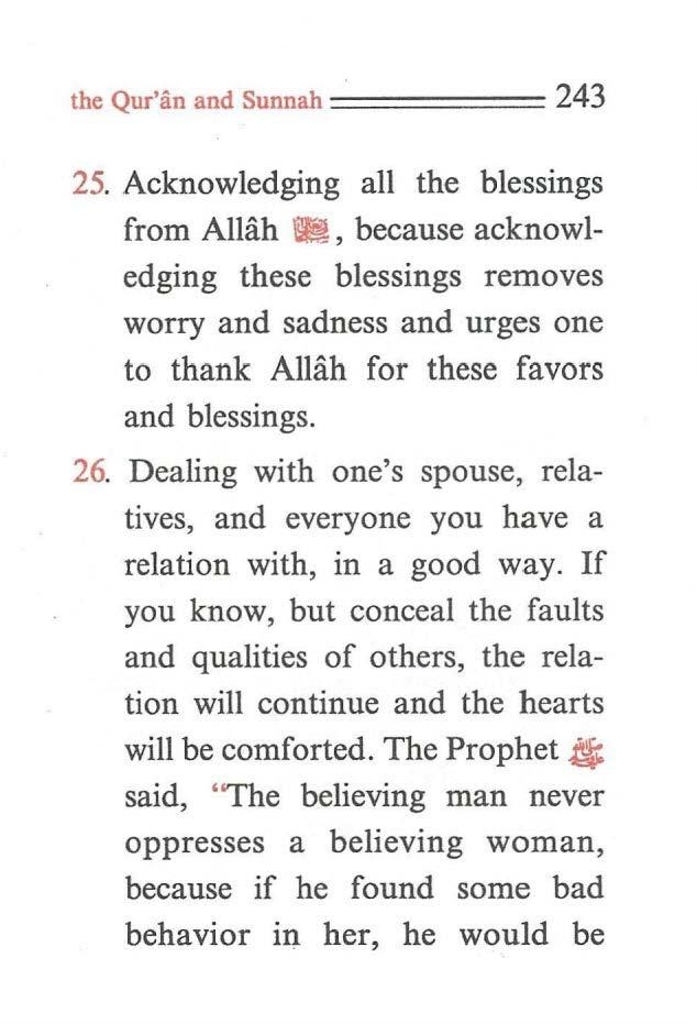 the Qur'an and Sunnah ====== 243 25. Acknowledging all the blessings from Allah m!