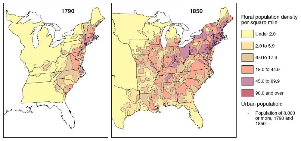 Population Distribution, 1790 and 1850 By 1850, high population density characterized parts of