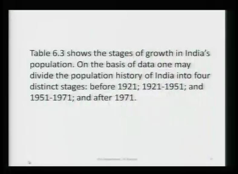 (Refer Slide Time: 30:14) And, now the table also shows stages of growth in India s population.
