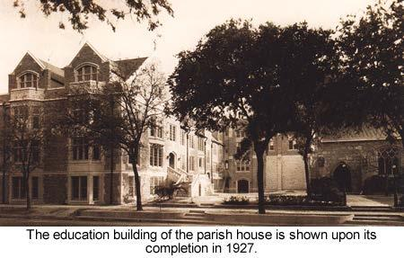 before its segments joined and rose to the thenprimary second story entrance. Two narrow buildings adjoining the far side were cobbled to the parish house after being purchased by St.