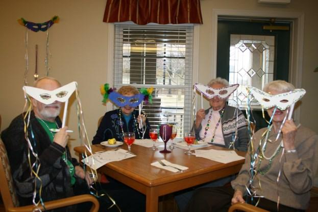 jambalaya. Socials and themed dinners are regular events that staff and residents enjoy.