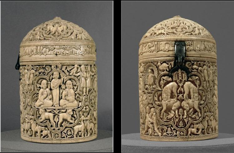 57. Pyxis of al-mughira Umayyad c. 968 CE Ivory Calligraphic inscription identifies the owner, asks Allah for blessings, and tells us the function of the pyxis.
