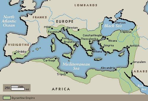 At its height, the Byzantine empire covered an area from Rome through southeastern