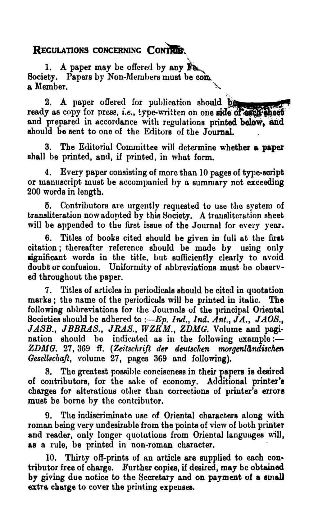 REGULATIONS CONCERNING CoNilrit~. I. A paper may be offered by any ~~ Society. Papers by Non-Me.rubers must be co& a Member..,...-. 2. A paper oflered!