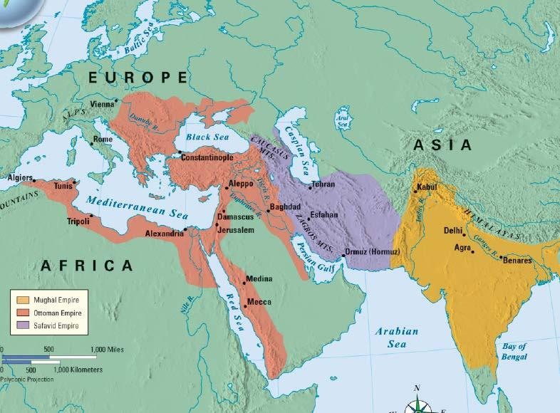 Conclusions The Ottomans, Safavids, & Mughals built large Islamic empires using gunpowder militaries These empires provided new