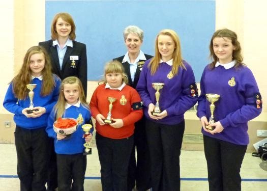 2nd Fraserburgh Girls Brigade McLeod Shield Winners Trophy Winners For general knowledge quiz are pictured with