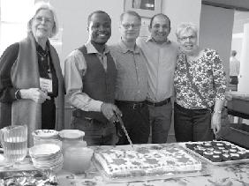 Spring Events Event organizer Robert Thoen with visitors Photo by Don Payne Welcome Cake: Val Carson Kilpatrick, Francis Agbaka who s a new convention refugee, Ted Myers, Emre Yurga & Sue Kaiser