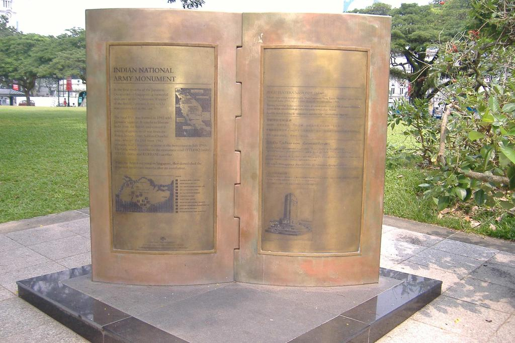 INDIAN NATIONAL ARMY MONUMENT IN SINGAPORE Praise of the adopted land, the processes of adoption, problems faced, challenges overcame, and failures and poverty received pointed references in the