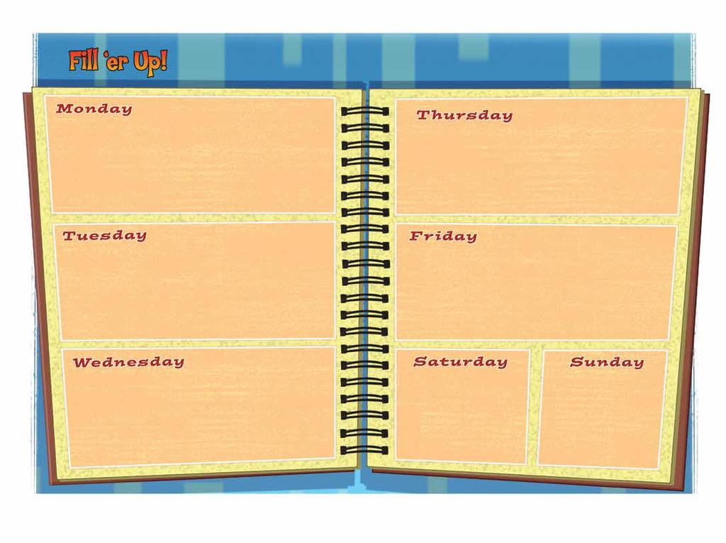 Instructions: What fills up your day? Write your weekly schedule on the agenda page below.