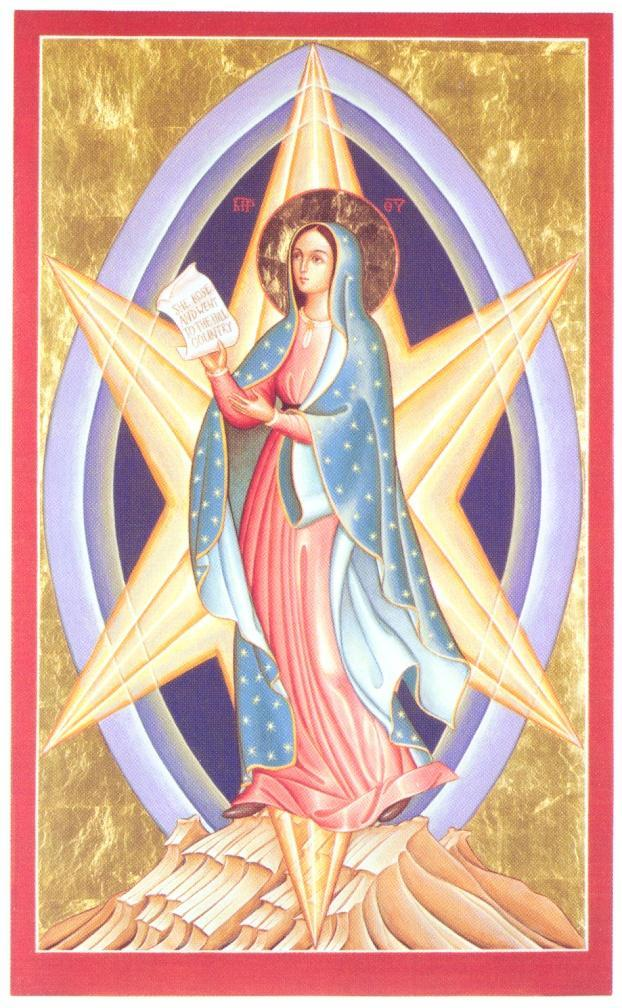 On the morning of Pentecost she watched over with her prayer the beginning of evangelization prompted by the Holy Spirit: may she be the Star of the evangelization ever