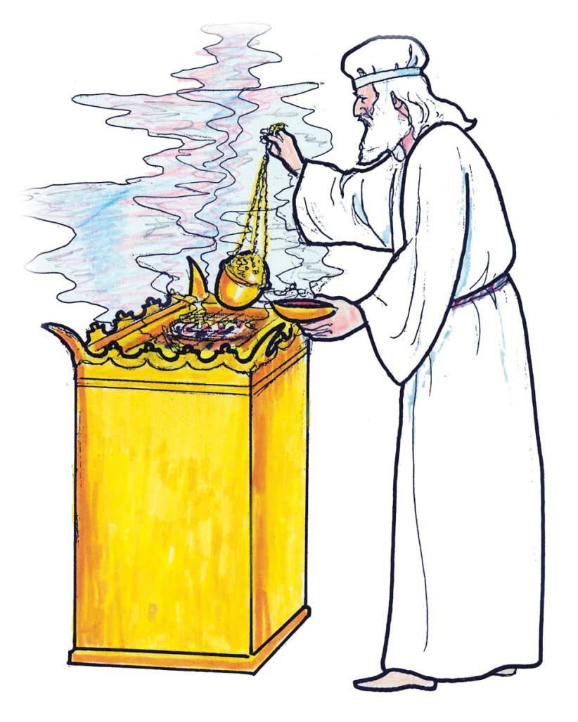 The priest then went into the sanctuary, and he went up to the horns of that little golden altar of incense where the blood had been taken faithfully in throughout the ceremonial year representing