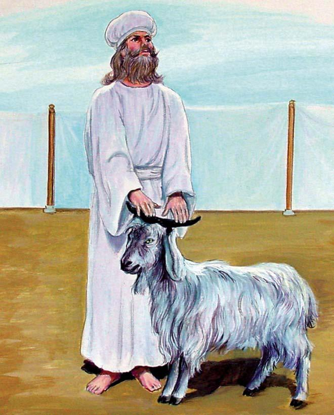 Azazel: The Scapegoat 5: Then he would go out into the court, take Azazel, the other goat, that represented Satan, and the priest would place his hands over the head of that goat.