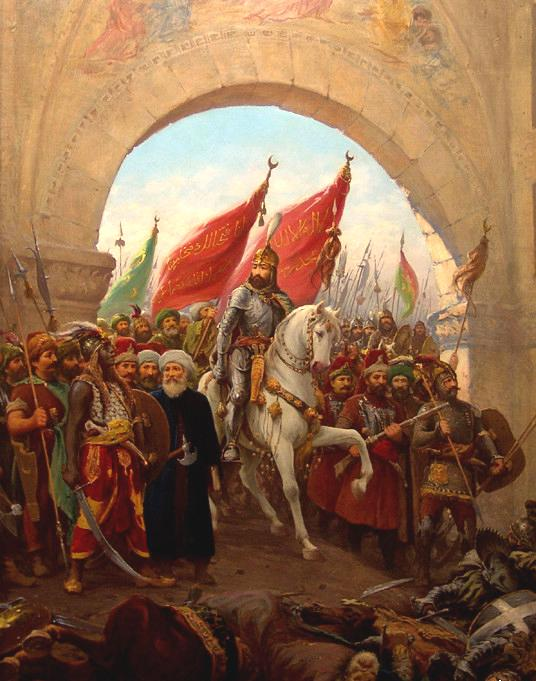 THE FALL OF CONSTANTINOPLE 1453 Mehmet II (Mehmet the Conqueror) 1453 Captured Constantinople Siege lasted 8 months Emperor of Byzantine Empire plead for help from European Christians - no response.