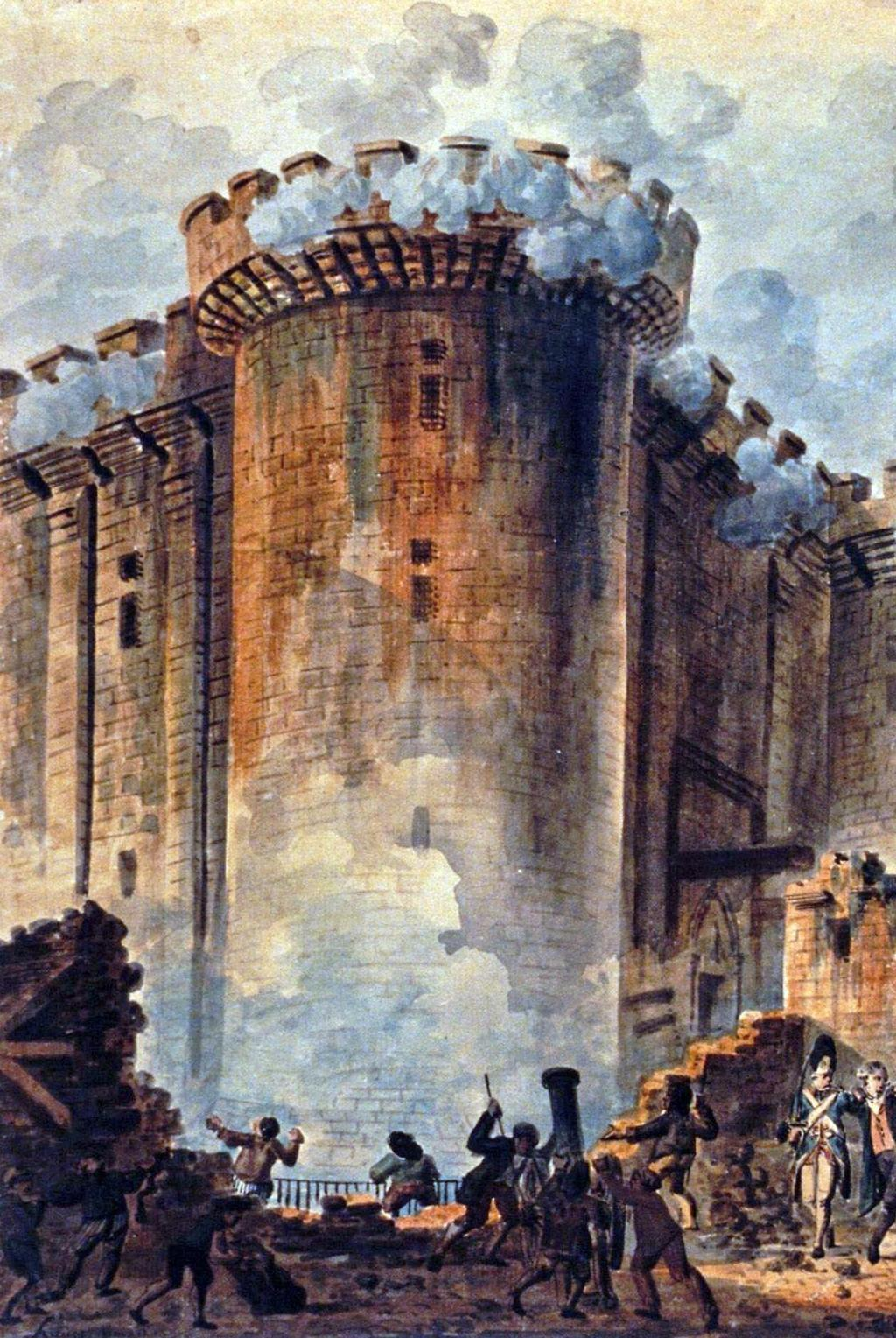 Storming the Bastille Bastille was a prison for political and upper-class offenders Prisoners were jailed without trial, on order of the king Start of the Revolution: rioters stormed the Bastille