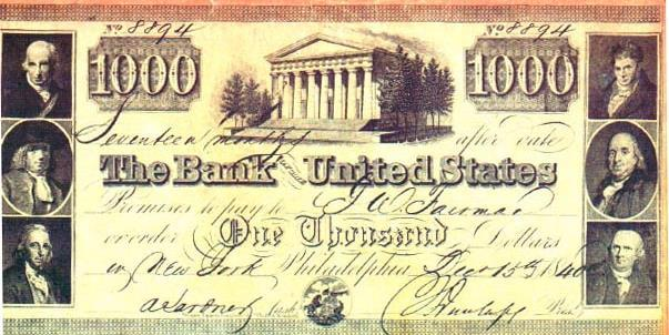 National Bank The charter for the first Bank of the United States expired in 1811. With no central bank the U.S. economy was unstable.