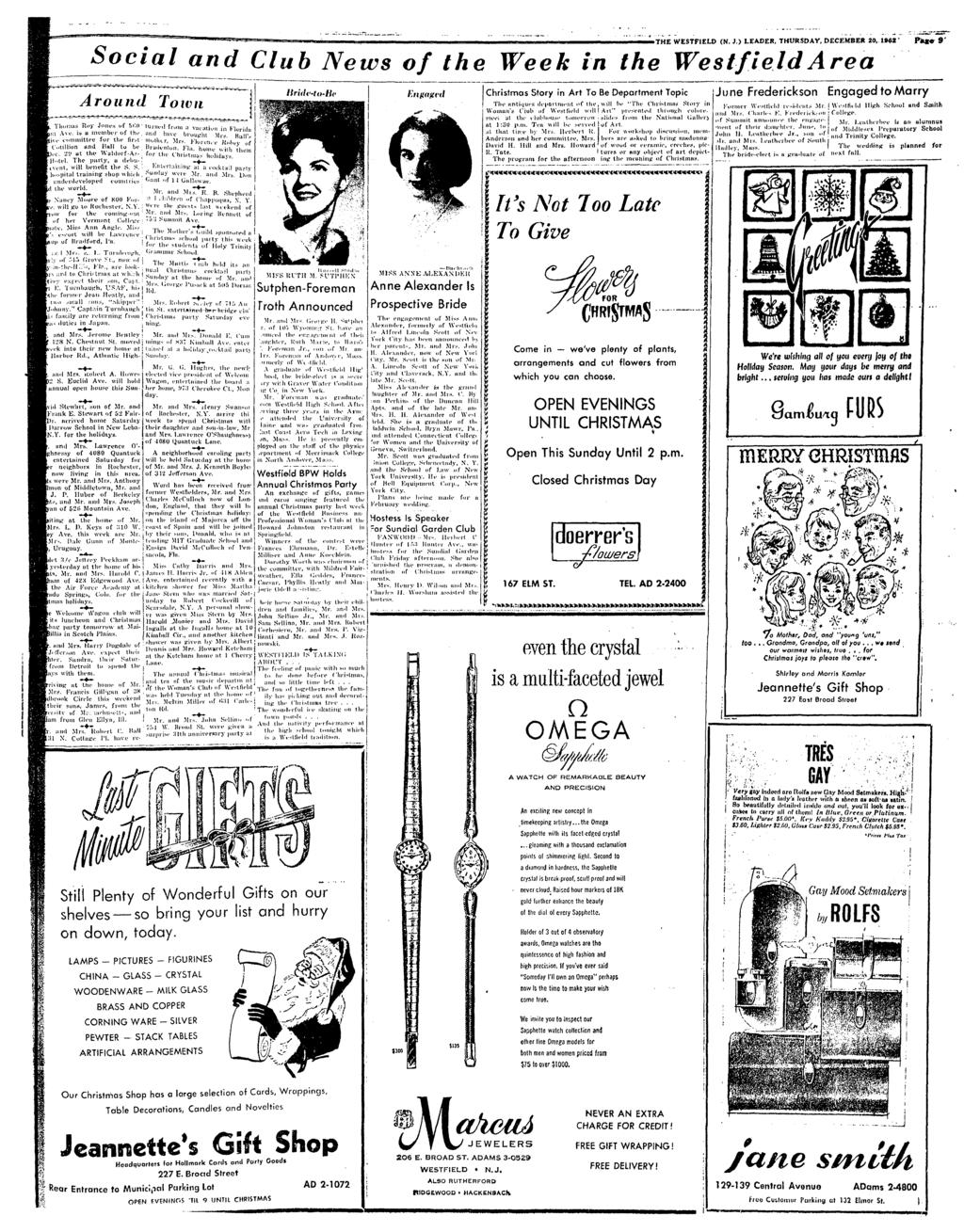 THE WESTFIELO IN. }.) LEADER, THURSDAY, DECEMBER 20, 1962 Pk«e 9' Socal and Club News of the Week n the West-feld Area Around Tovn and Mrs. Ttohcrl C. Hall 1 N. Collarc l'l.